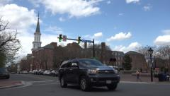Stock Video Footage of Alexandria Virginia busy road traffic church 4K