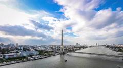 Timelapse - Bangkok Rama VIII bridge crosses the Chao Phraya River Stock Footage