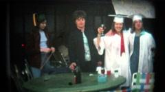 (8mm Vintage) High School Graduation Party - stock footage