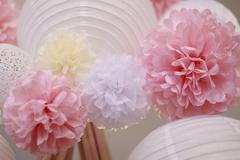 Paper flowers and chinese lantern Stock Photos