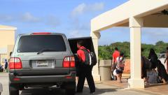 School Line and Pickup GUAM, USA- CIRCA February, 2011 Stock Footage
