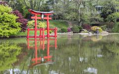 Shrine Relfected - stock photo
