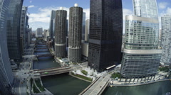 USA, Chicago, Wacker Drive, river and skyscrapers, fisheye - stock footage