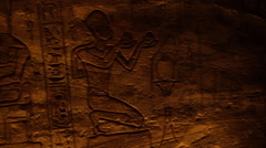 Pan of hieroglyphics, Temple of Ramesses II Stock Footage