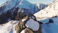 Sun on mountain with rocks. - stock footage