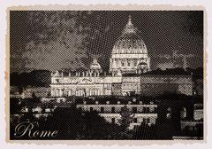 Night view at St. Peter's cathedral in Rome, Italy Stock Illustration