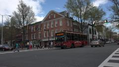 Stock Video Footage of Alexandria Virginia busy traffic downtown intersection trolley 4K