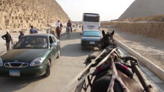 POV horse carriage ride near Egyptian pyramids - stock footage