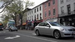 Stock Video Footage of Alexandria Virginia busy traffic downtown street 4K