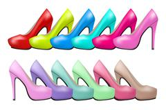 Stock Illustration of Background of Bright modern and vintage high heels woman shoes