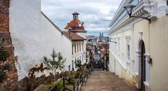 Historical center of old town Quito in northern Ecuador in the Andes mountain Stock Photos