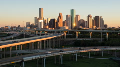 Houston, Texas, USA, highway, city skyline Stock Footage