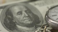 Close up one hundred-dollar note, watch. Time, money. World bank Stock Footage