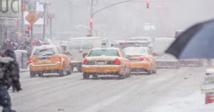 Stock Video Footage of Times Square, NY winter snow storm