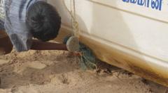 Indian fishing beach Stock Footage