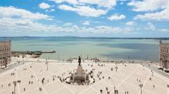 4k timelaspe of commerce square - Praça do commercio in Lisbon - Portugal - UHD Stock Footage
