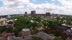 Cityscape steadicam aerial Stock Footage
