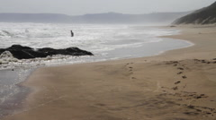 Swimmers in ocean, South Africa - stock footage