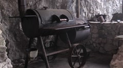 Stock Video Footage of Old barbeque on wheels