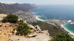 Wide aerial pan of Cape Town, South Africa Stock Footage