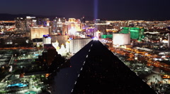 Famous Luxor Hotel and Casino Las Vegas aerial shot by night - stock footage