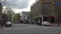 Stock Video Footage of Alexandria Virginia busy traffic road downtown fast 4K