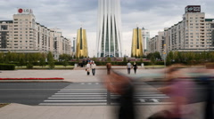 Central Asia, Kazakhstan, Astana, Bayterek Tower Stock Footage