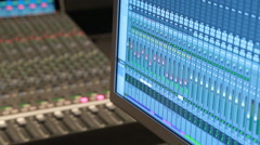 Digital audio workstation, audio console - stock footage