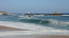 Beautiful landscape Oaxacan coast during choppy seas, producing big waves. Stock Footage