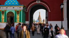 Russia, Moscow, Iberian Chapel, St Basil's Cathedral T/L Stock Footage