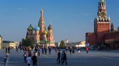 Russia, St Basils Cathedral, Kremlin, Red Square, T/Lapse - stock footage