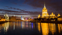Russia, Moscow, Moskva river, illuminated at night - T/L Stock Footage