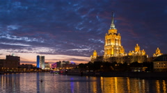 Russia, Moscow, illumination, Moskva river at night - T/L Stock Footage