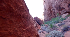 Valley of Fire Landscape Wilderness Sweeping Shot in Sandstone Alcove Stock Footage