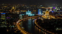 Russia, Moscow, elevated, Moskva river, night - T/Lapse Stock Footage
