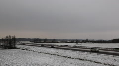 Autobahn highway in winter - stock footage