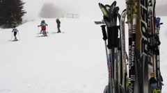 Ski rack on mountain resort - stock footage