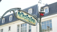 sign Metropolitain above the entrance to the subway in Paris - stock footage