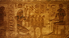 Egyptian hieroglyphs, wide pan Stock Footage