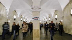 Russia, Moscow, Metro station platform - Time lapse - stock footage