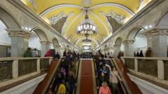 Russia, Moscow, Komsomolskaya Metro station - T/Lapse Stock Footage