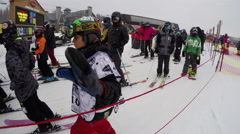 Skiers and snowboarders time lapse 4K Stock Footage