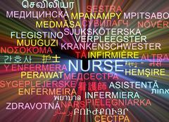 Stock Illustration of Nurse multilanguage wordcloud background concept glowing