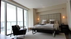 Entering into a bedroom of a luxury condominium Stock Footage