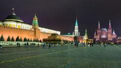 Russia, Moscow, Kremlin, Red Square at night - T/Lapse - stock footage