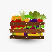 Vegetables in wooden crate - stock illustration