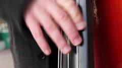 Double bass player, close up Stock Footage
