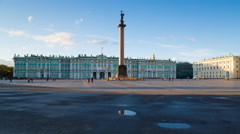 Russia, St Petersburg, Alexander Column, Hermitage T/L Stock Footage