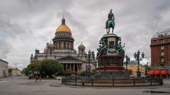 Russia, St Petersburg, St Isaac's Cathedral - Time lapse - stock footage