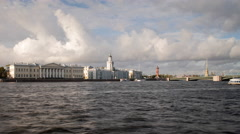 Russia, St Petersburg, Kunstkammer, Neva river - T/L - stock footage